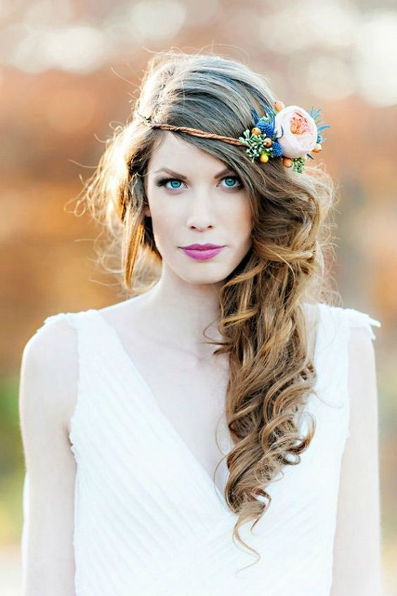 Side-Swept Long Curls with Fresh Flower