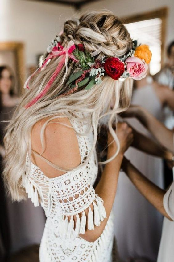 Braids With a Flower Crown